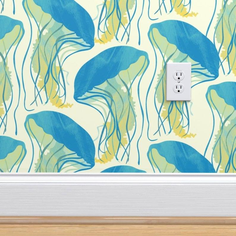 Jellyfish Wallpaper Sunny Jellyfish By Revista Blue Yellow Etsy Wallpaper Wallpaper Roll Blue Yellow