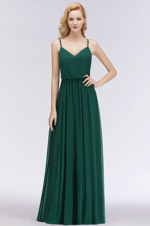 fashion dunkel grün lange chiffon brautjungfernkleider