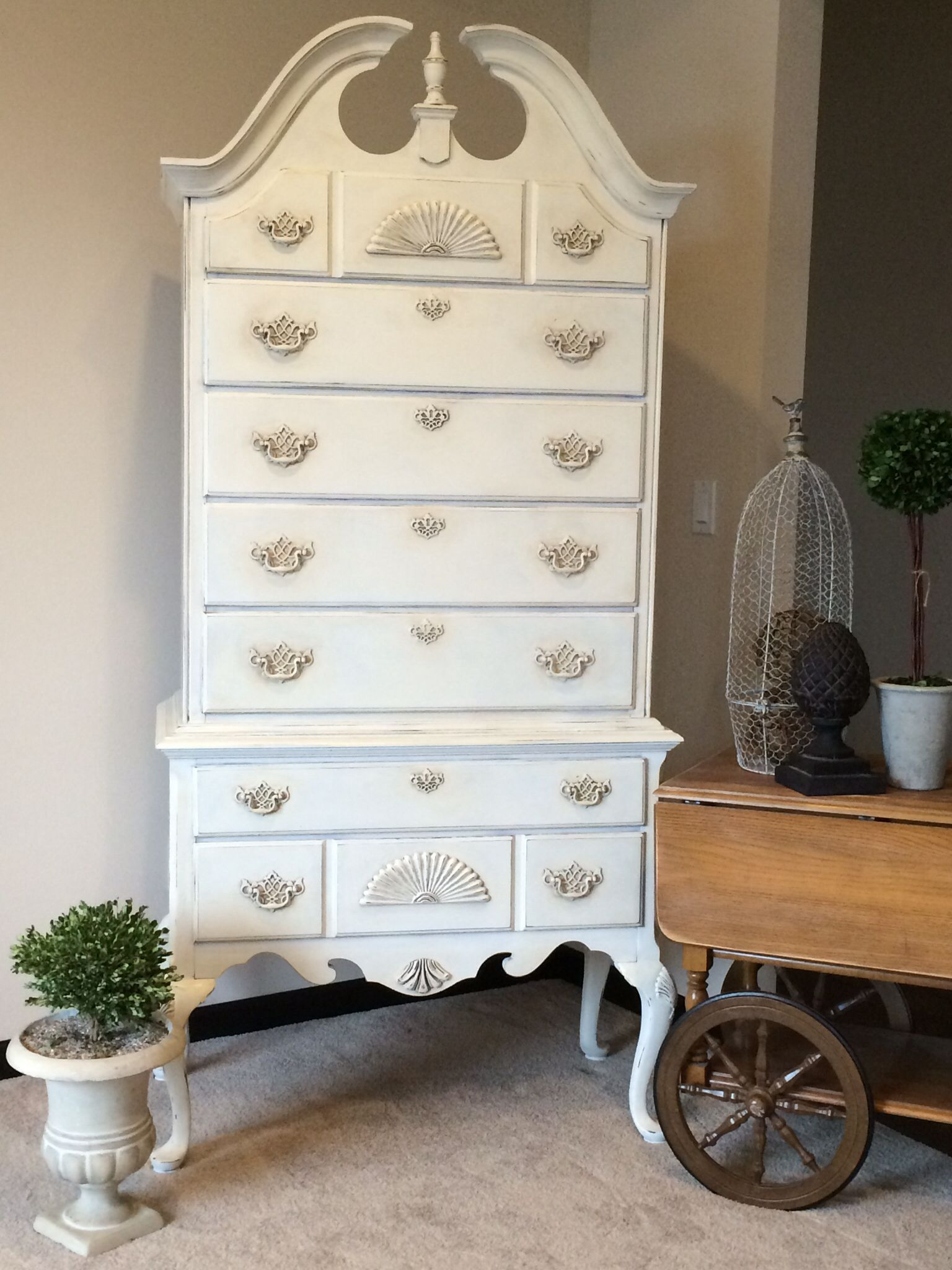 Highboy dresser refinished with Annie Sloan Chalk Paint in old white ...