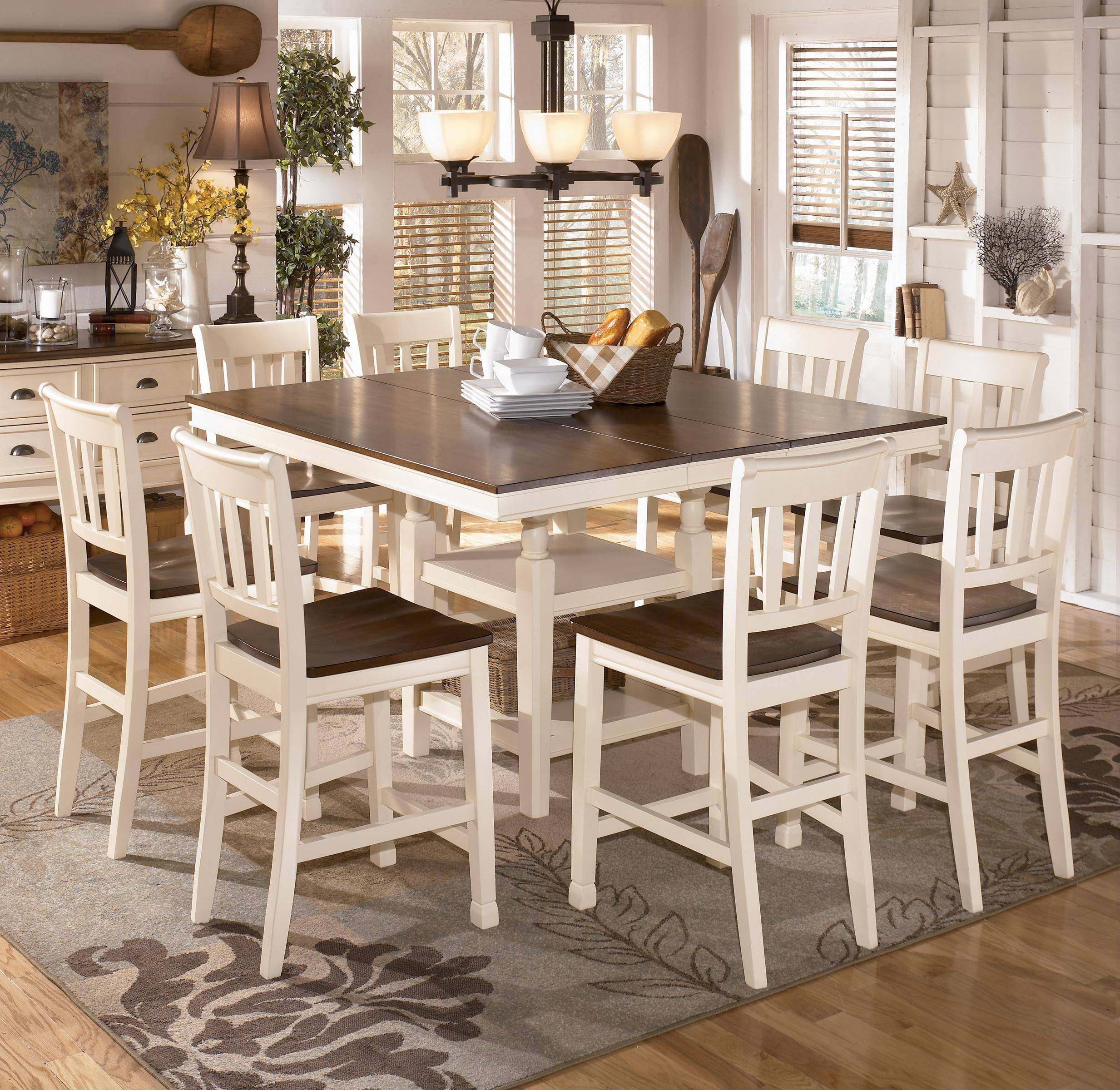 Whitesburg 9Piece Square Counter Extension Table Setashley Captivating 9 Pcs Dining Room Set Decorating Design
