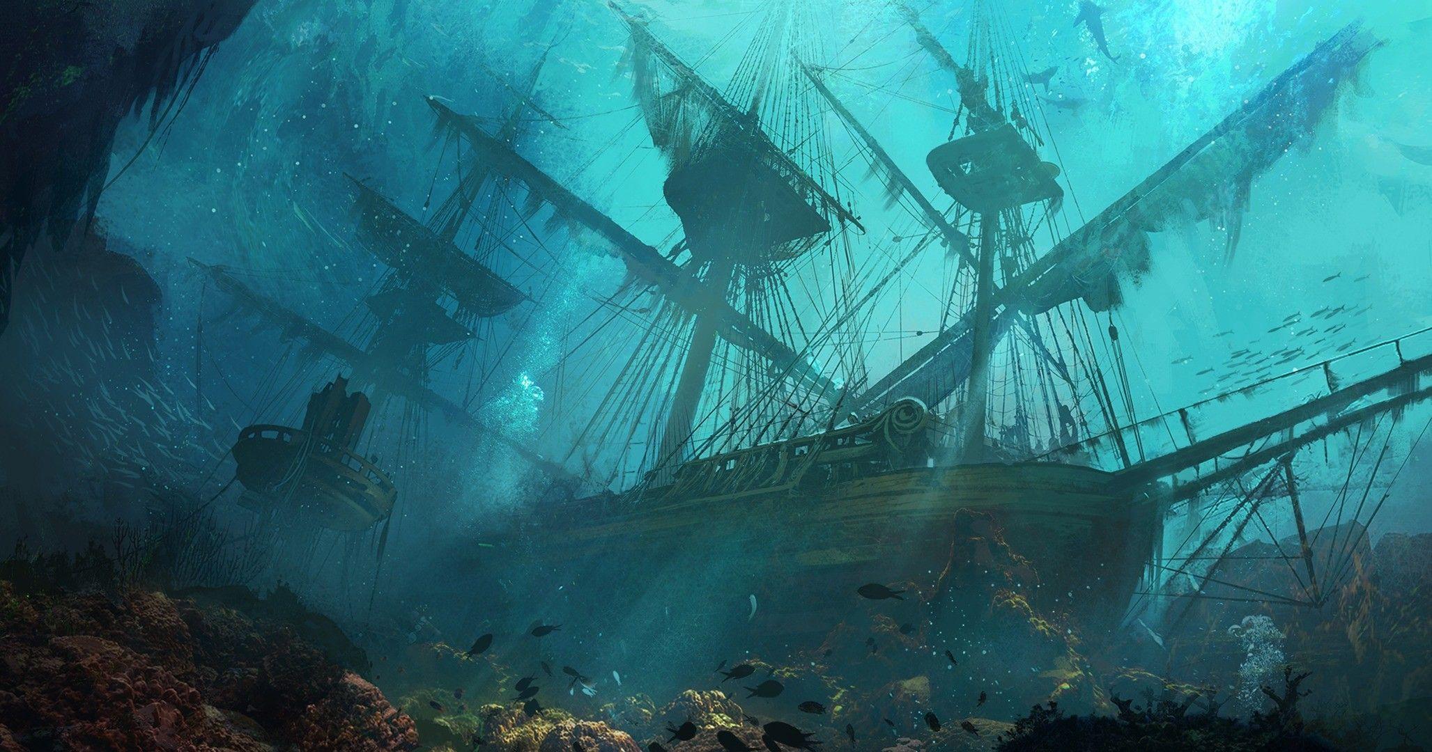 Fantasy ship cliff jolly roger pirate ship rock lightning wallpaper - General 2055x1080 Sinking Ships Ship Drawing Sea Fantasy Art