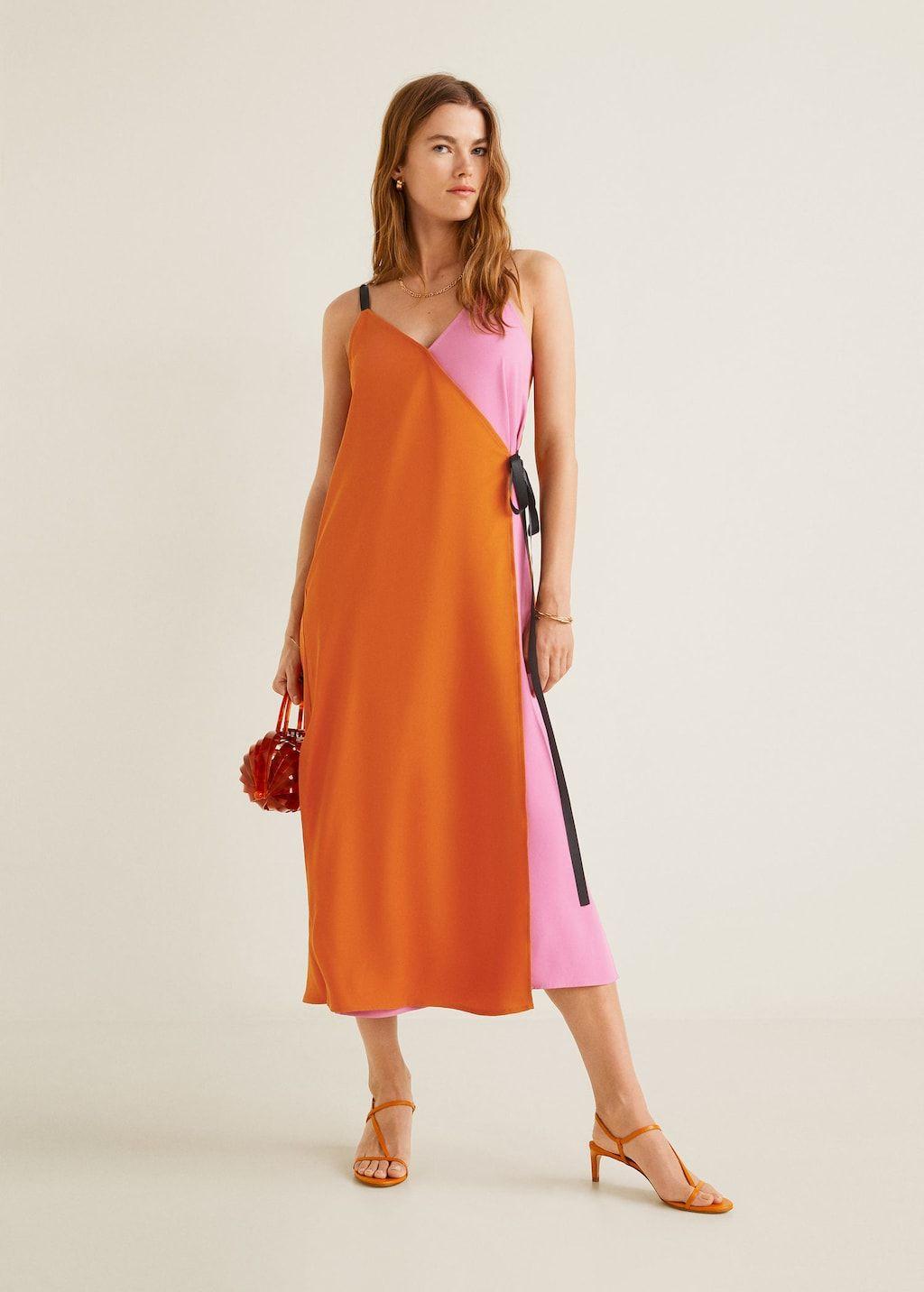 vestido bicolor lazo - mujer | mango españa | kleider für