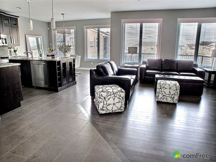 Clean tile to hardwood floor transition looks seamless for Flooring ideas for kitchen and dining room