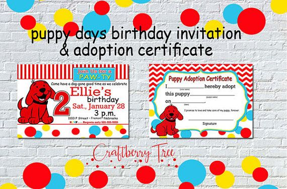 Puppy Days Birthday Invitation and Adoption by Craftberrytree