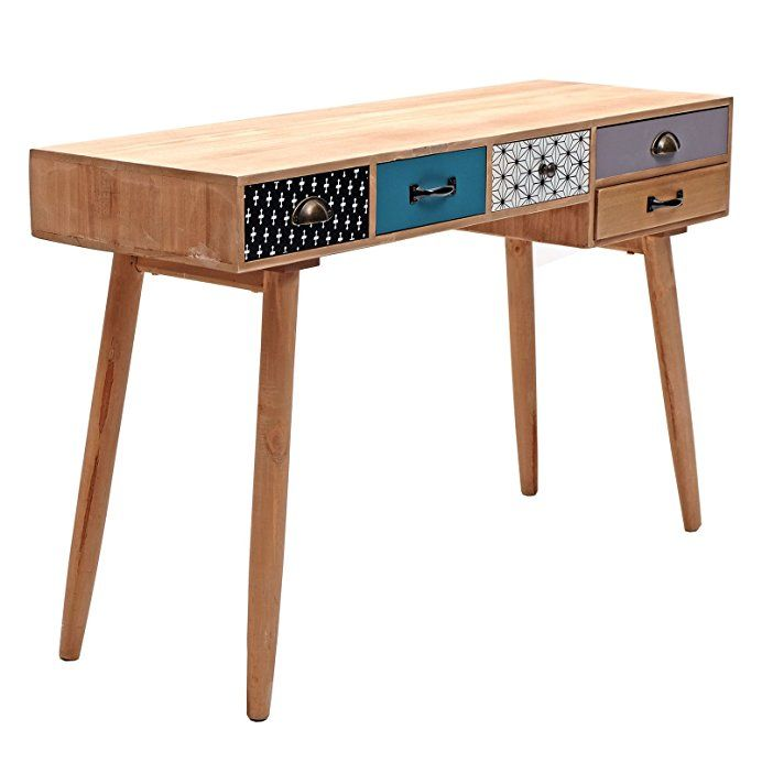 Retro Schreibtisch Oldschool 118 Cm Holz Vintage Burotisch