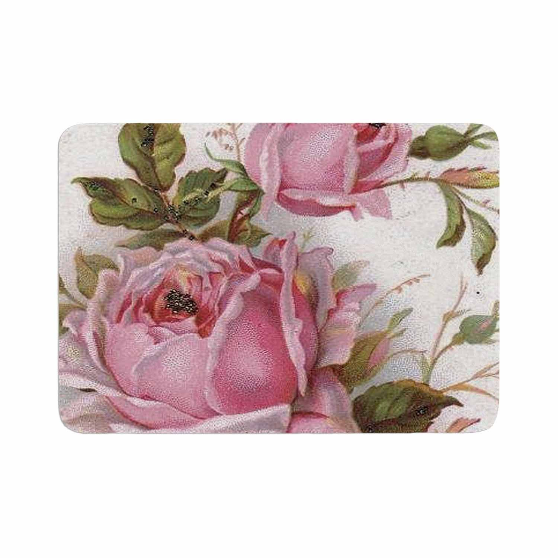 Suzanne Carter Vintage Rose Pink Fl Memory Foam Bath Mat