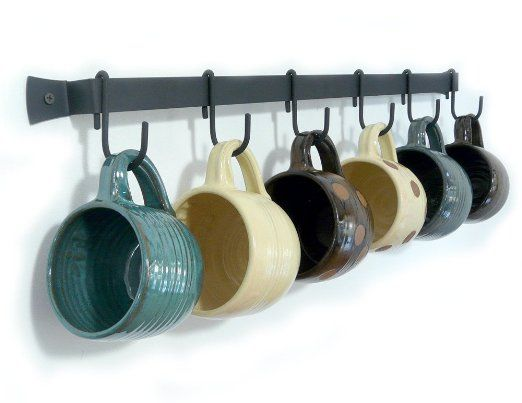Wall Mounted Wrought Iron Mug Rack 24 With 6 Cup Hooks Hang On Wall Near Kitchen Maybe A Coffee Tea Bar Area Kitchen Wall Design Mug Rack Wrought Iron