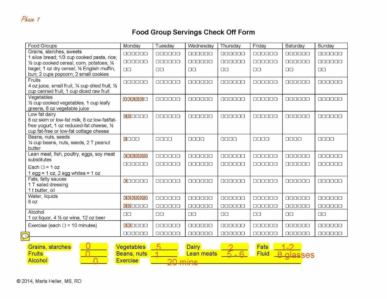 Image result for printable dash diet phase 1 forms Dash