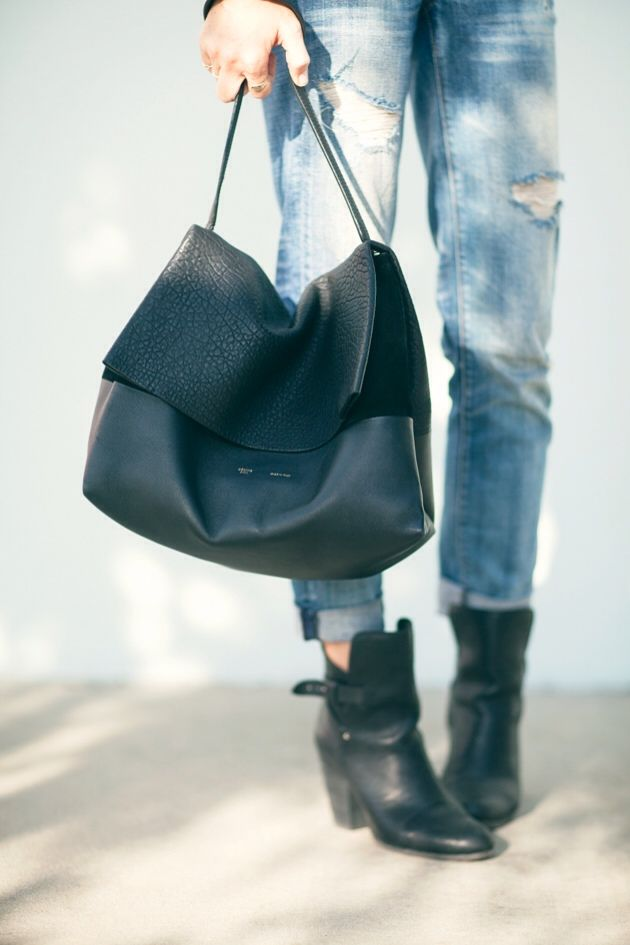 1a8262c28 Celine All Soft Tote Bag, Perfect boots & fades ripped jeans ...