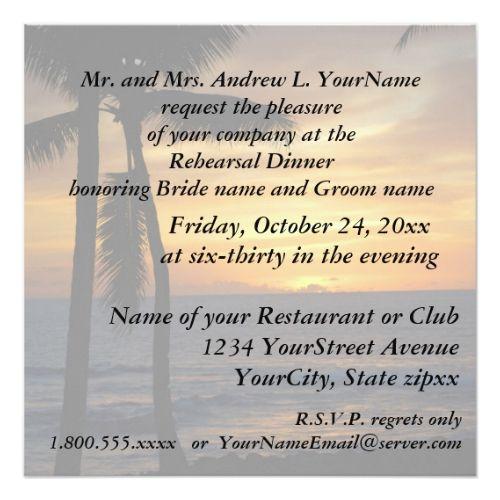 Sunset Beach Wedding Ideas: Rehearsal Dinner Romantic Beach Sunset Invitation