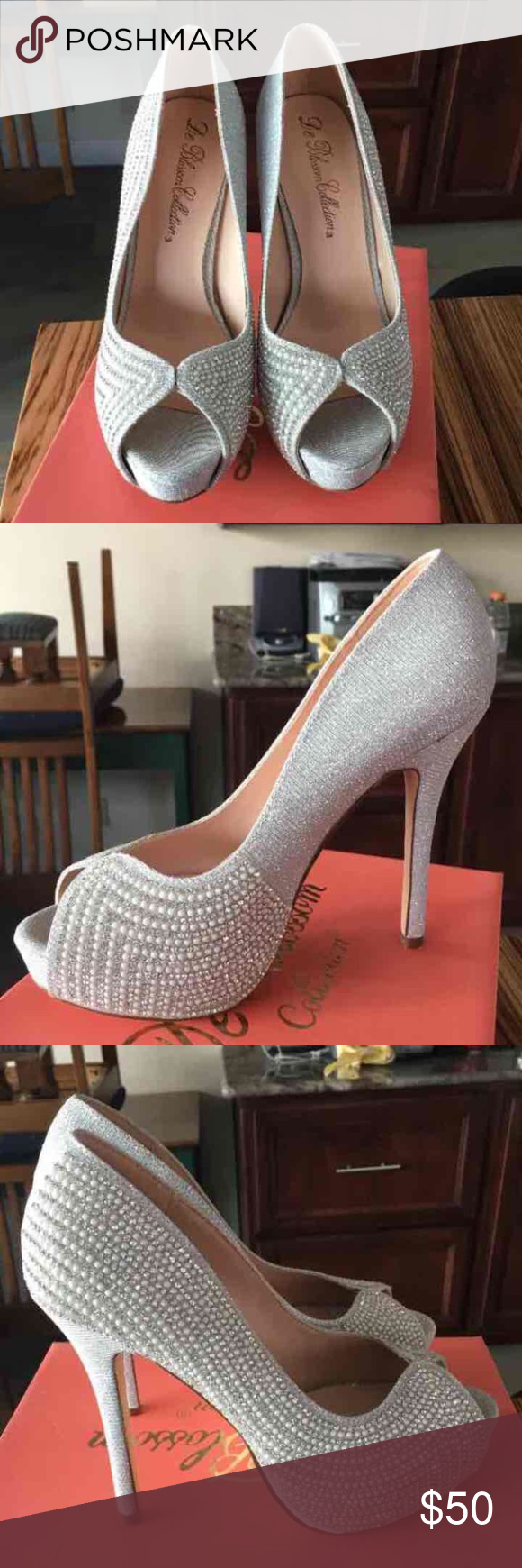 Silver heels De blossom Heels  Size: 7,8  Silver Heels Peep toe  Platform - 1 inch  Heel - 4 inches ish  Total height 5 inches ish   BNIB  Perfect for prom, homecoming, weddings, formal wear, winter formal Shoes Heels