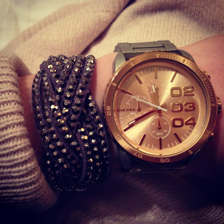 Diesel watch braided bracelet #Diesel #watch #gold #Swarovski