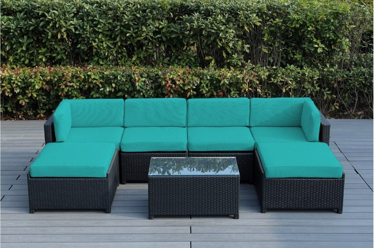 Amazon Com Ohana Mezzo 7 Piece Outdoor Wicker Patio Furniture