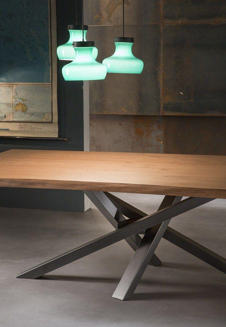 Table manger rectangulaire en acier inoxydable et bois - Table en acier inoxydable ...