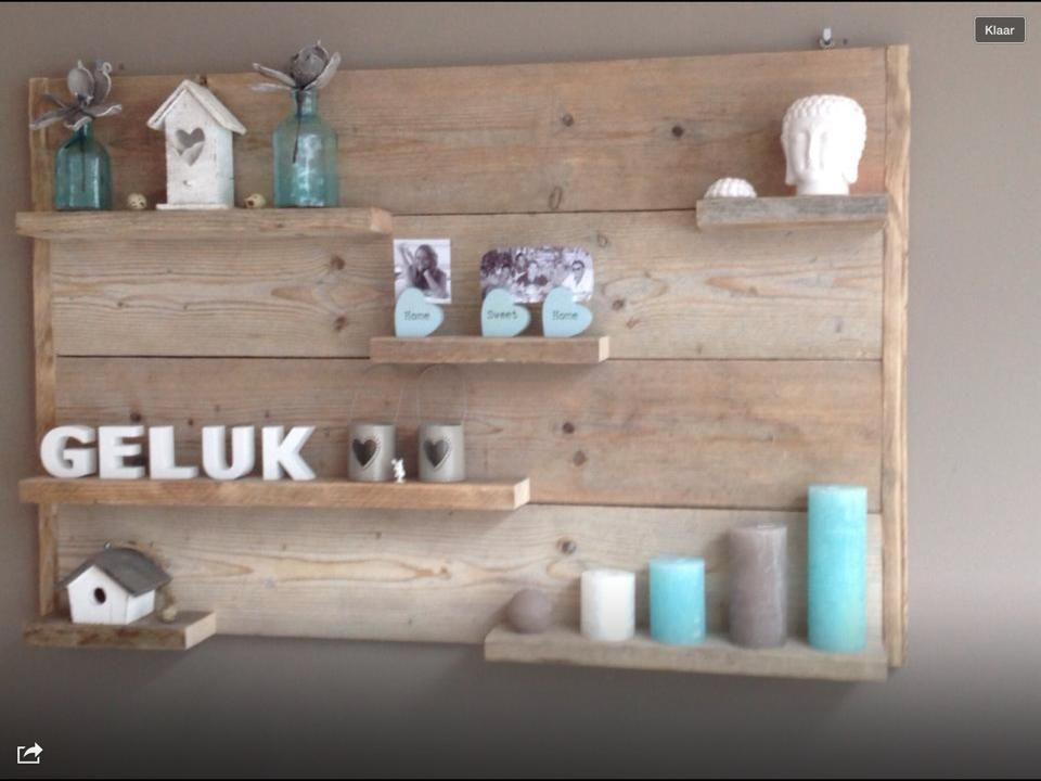 Mooi wandbord van steigerhout pallethout opleuken met for Decoratie spullen