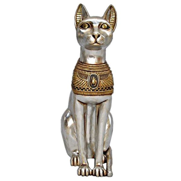 Egyptian Cat Goddess Bastet Statue (915 RON) ❤ liked on Polyvore featuring home, home decor, cat statuary, egyptian home decor, egyptian statue, cat statue и cat home decor