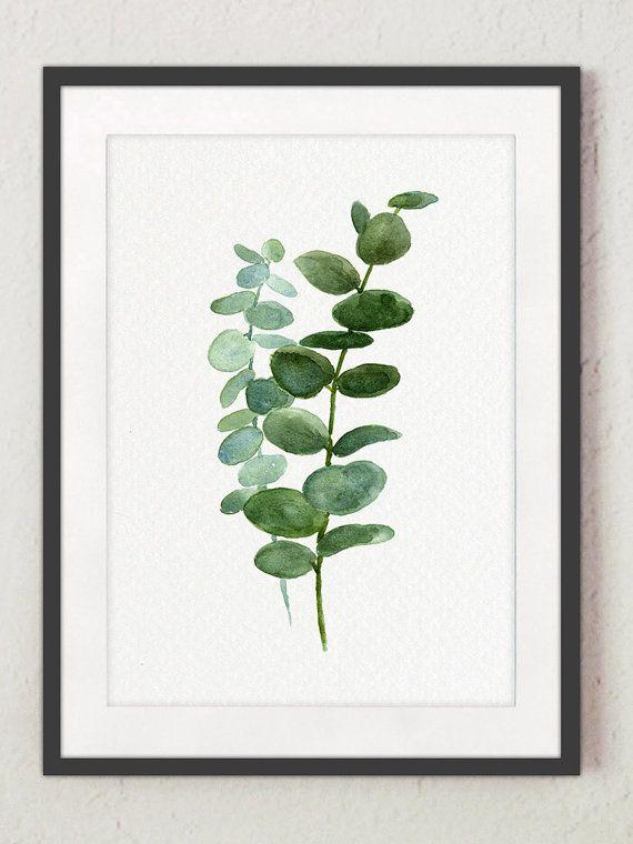 Eucalyptus print Plant watercolor Art print from my original watercolor. Eucalyptus poster Plant print Vegetal painting Botany poster