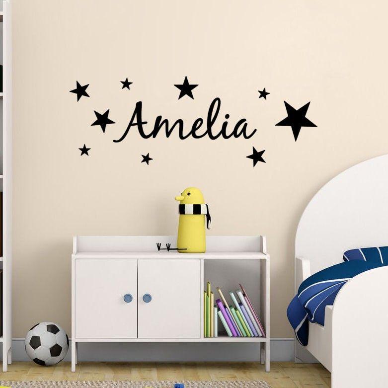 Stars Pattern Kids Personalized Name Bedroom Vinyl Wall Decor