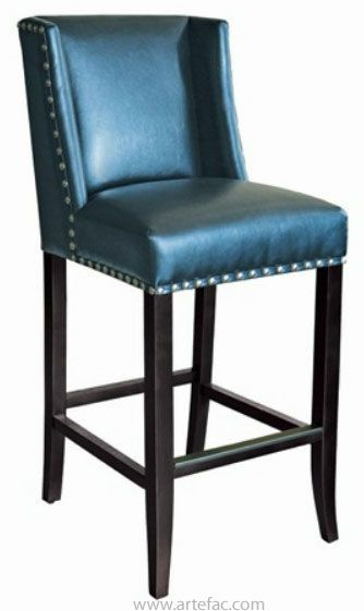 Blue Leather Wing Back Bar/Counter Stool w/ Silver
