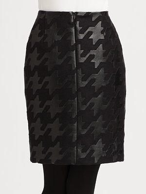 Akris Punto - Leather Houndstooth Skirt - Saks.com