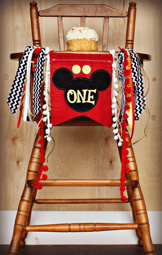Mickey Mouse Birthday BannerClubhouseGarlandI Am ONEBirthday AGE HighchairRagtieDecorationsParty