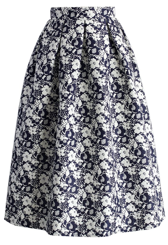 Dash of Flower Embossed Midi Skirt in Navy - New Arrivals - Retro, Indie and Unique Fashion
