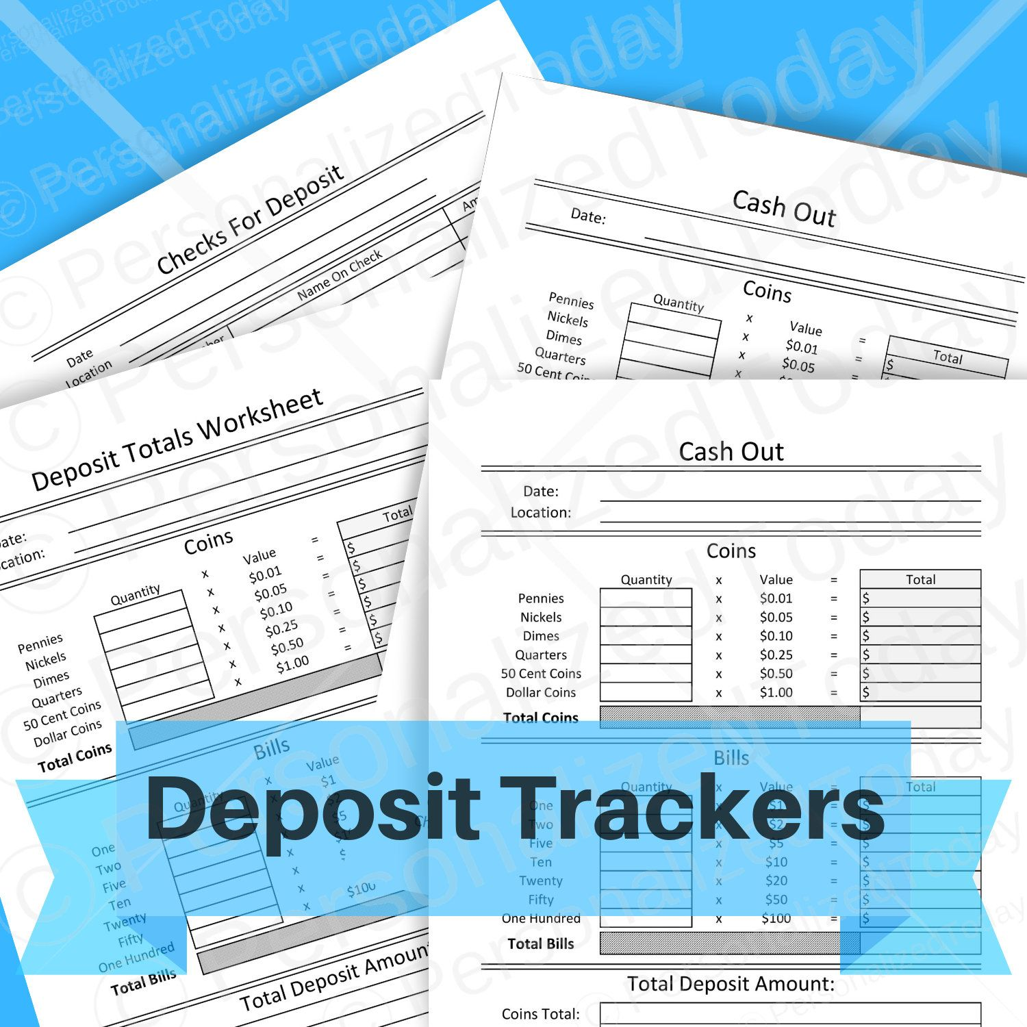 Cash And Checks Deposit Tracking Sheet For Coin Change Dollar Bills Currency And Checks Business Bookkeeping Form Print Cash Flow Statement Deposit Bookkeeping
