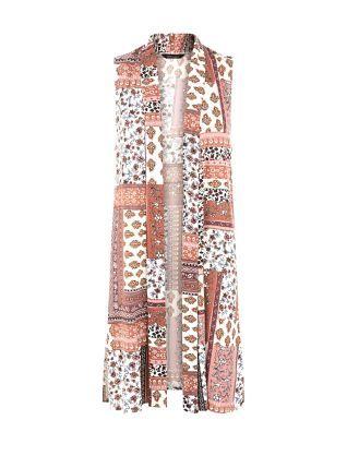 White Patchwork Print Longline Sleeveless Blazer  | New Look