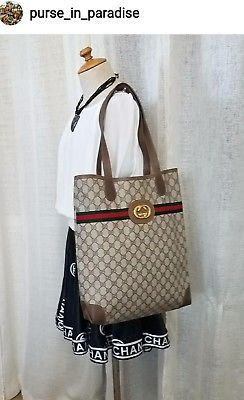 61d4796e36e9 Vintage Gucci Tote Shopper Bag Large Big GG Monogram Authentic VGC PVC 80s  Nice