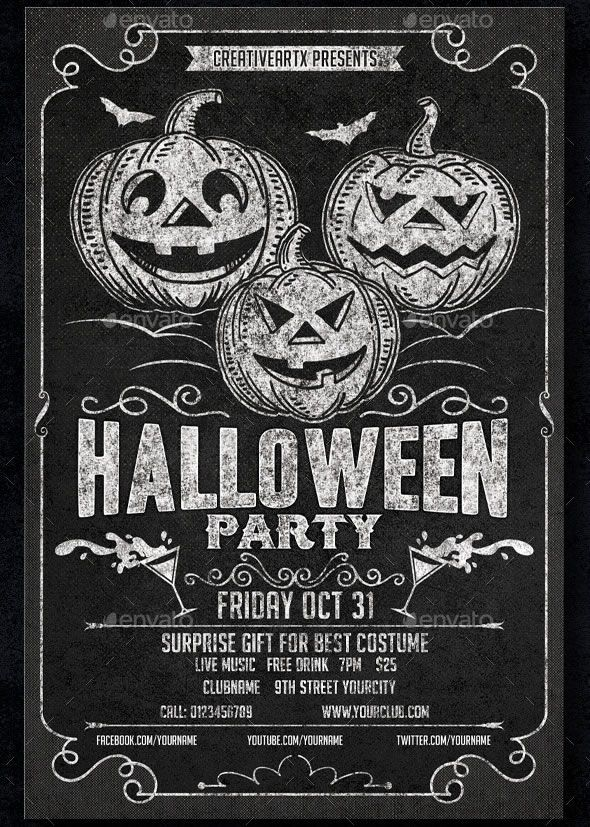 50 Creepy Design Resources for Halloween Halloween party flyer and - best of invitation template free