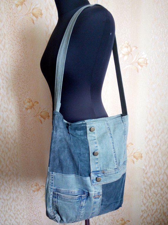 A bag made of jeans and leather. The processed jeans. A stylish women s bag.  A bag with lining. A wo c8a86817b1c72