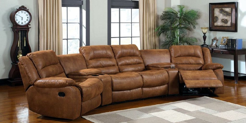 home theater reclining sectional sofa leather cushion covers 4 piece power recliner