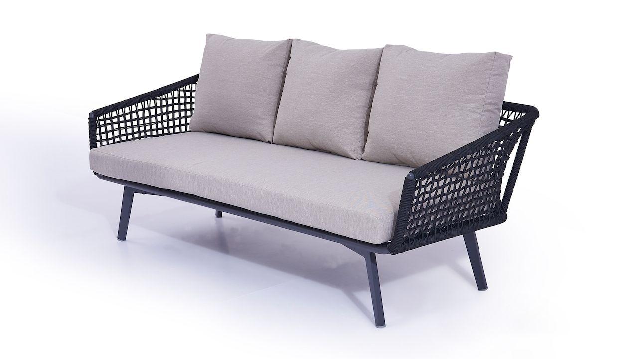 Rope Sofa Diva 196 Cm Schwarz Lounge Mobel Gartenmobel Terrassenmobel