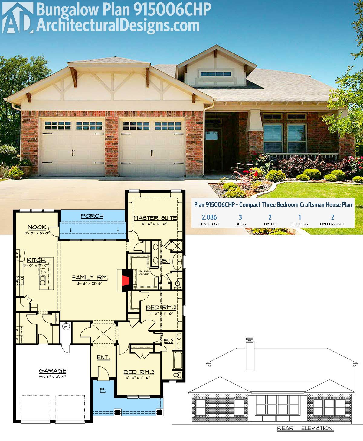 plan 915006chp: compact three bedroom craftsman house plan
