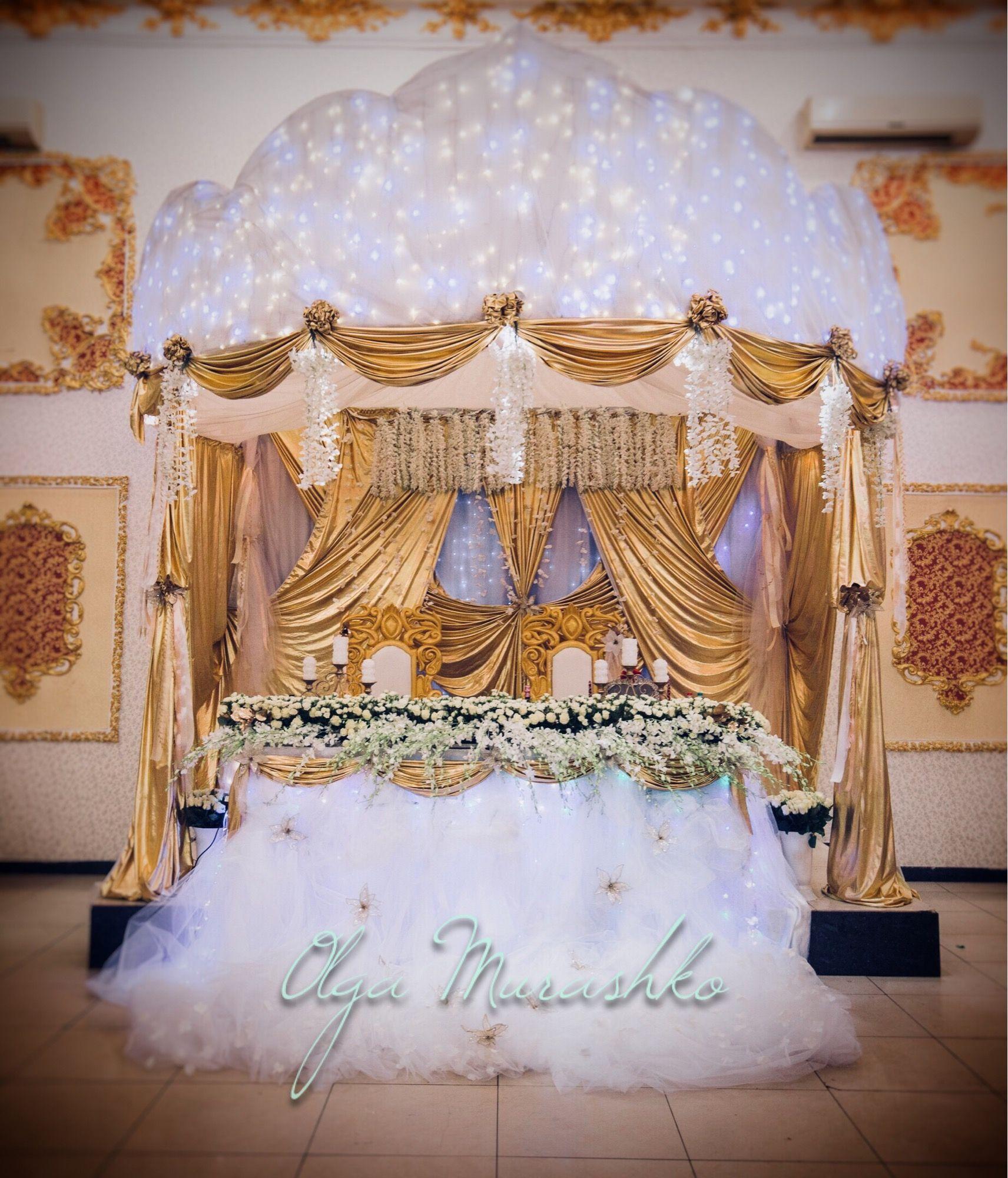 White wedding decoration ideas  Wedding decoration by Olga Murashko presidium in gold and white