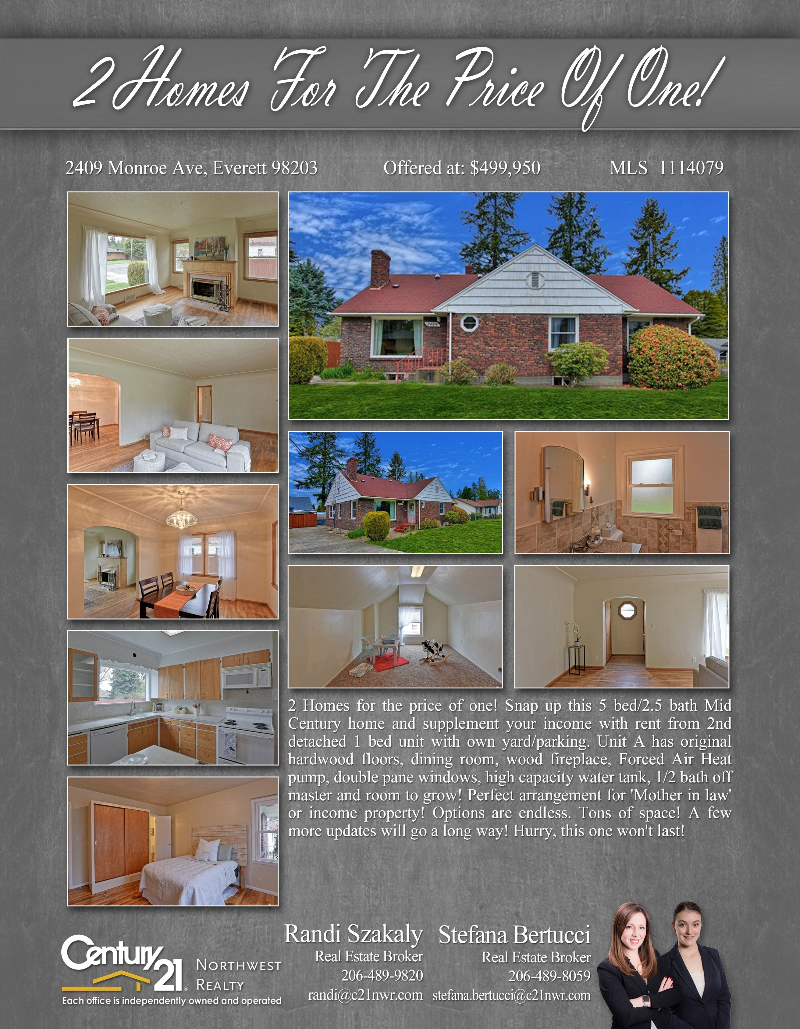 2 Homes for a price of One in Monroe Ave., Everett! Vacant