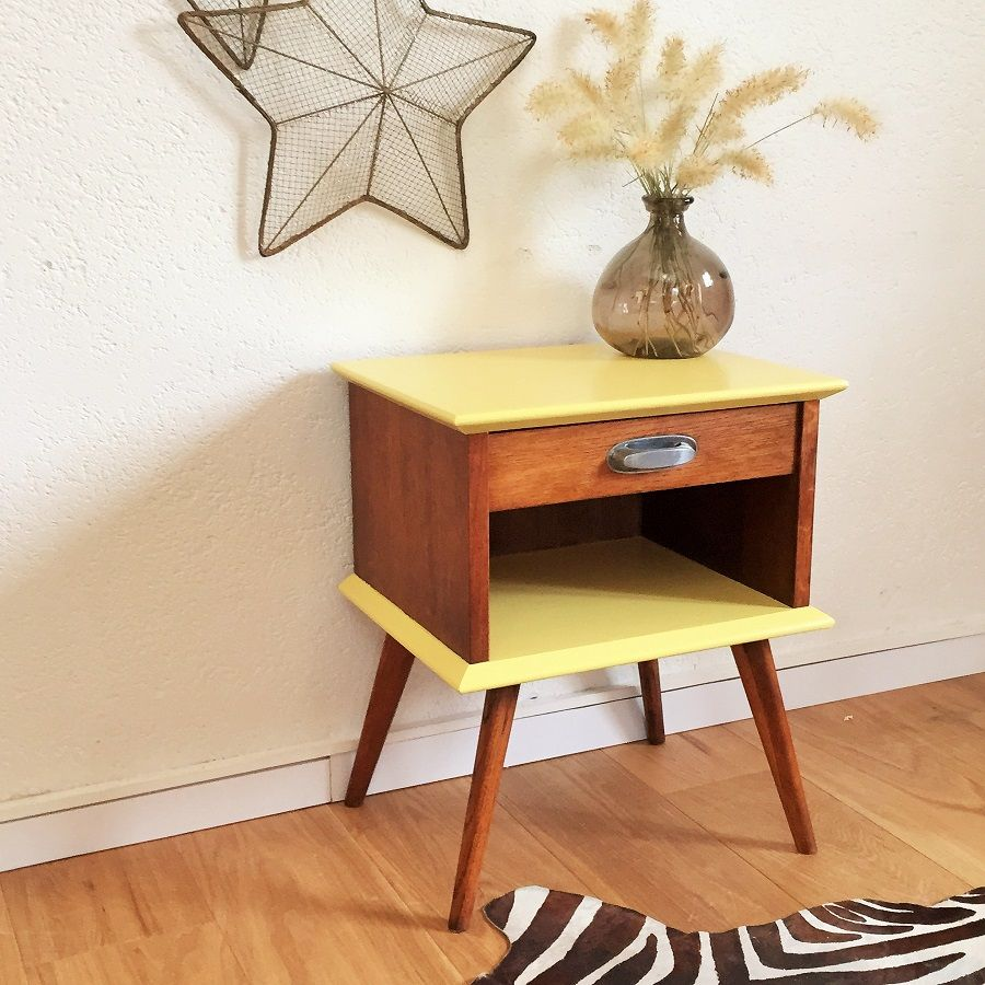 Meuble Chevet Table De Chevet Rétro Mid Century Bedside Ferme Chevet