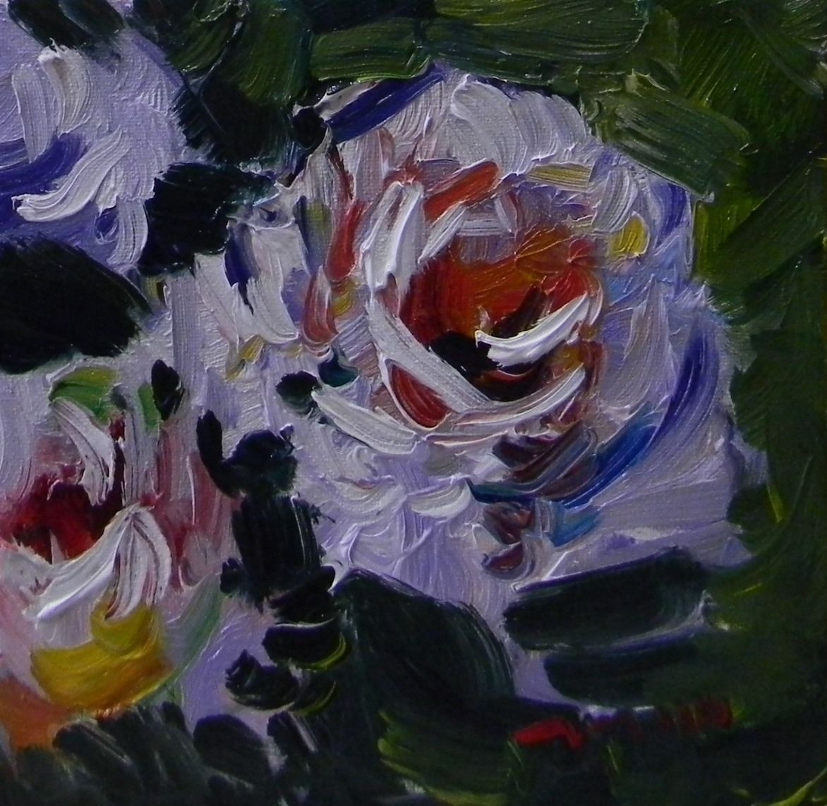 JOSE TRUJILLO ORIGINAL OIL PAINTING WHITE FLOWERS ROSES