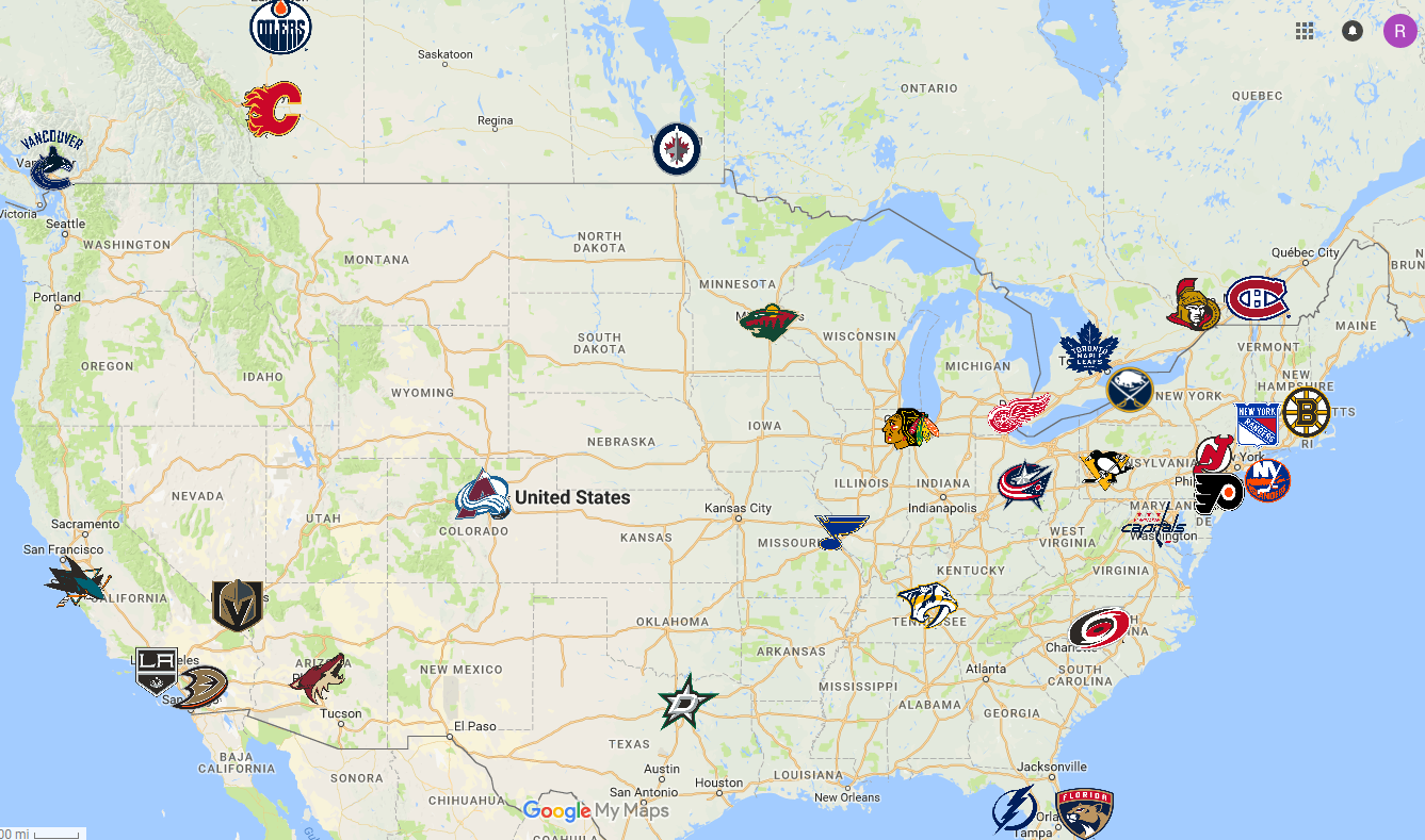 Map Of Nhl Teams Nhl Nhl Hockey Team Logo