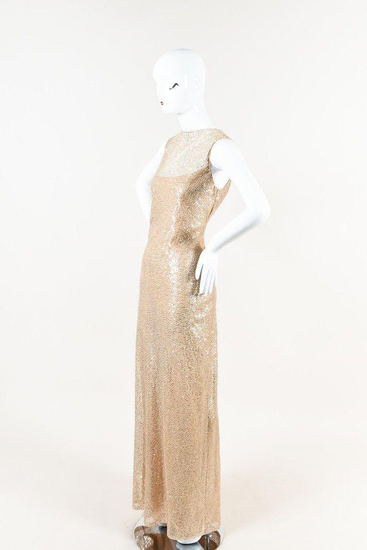 Cool amazing vera wang gold sequin sleeveless long gown sz