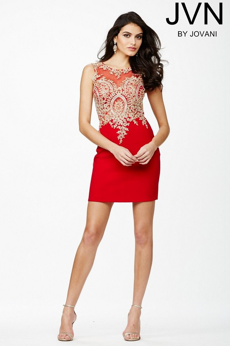 45da22057fd7 Prepare for fireworks in the sexy Jovani JVN32608 sleeveless red short dress.  Dazzling beaded appliques create a sweetheart bodice below the illusion  scoop ...