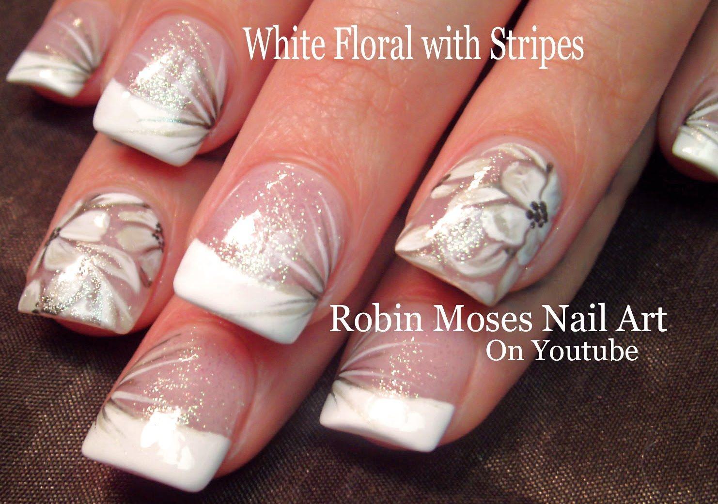 White Flower Nails Elegant Floral Nail Art Design Tutorial Nail