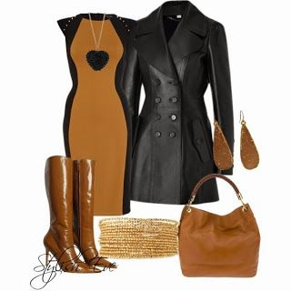 Leather jacket, hand bag, long boots and dress