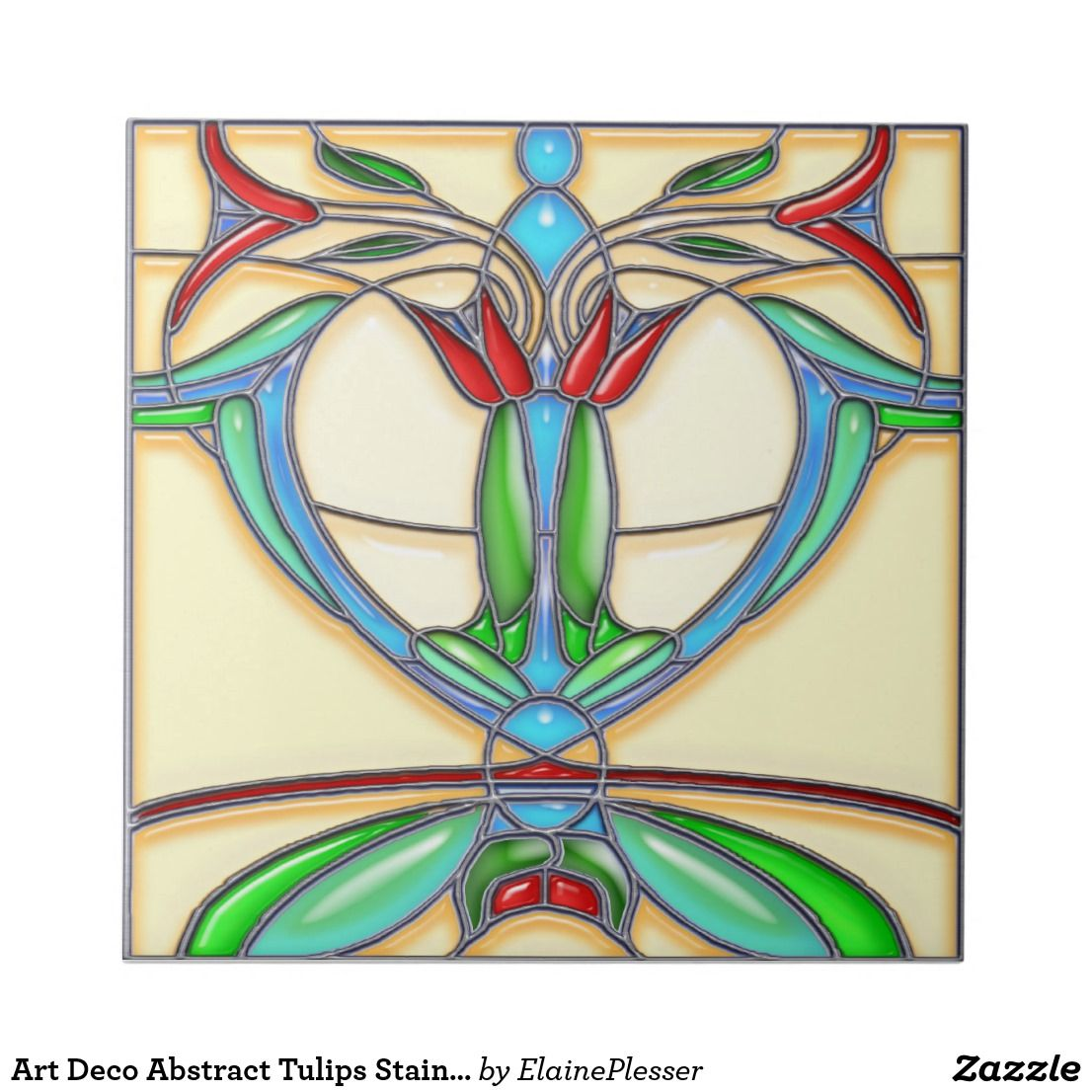Art Deco Abstract Tulips Stained Glass