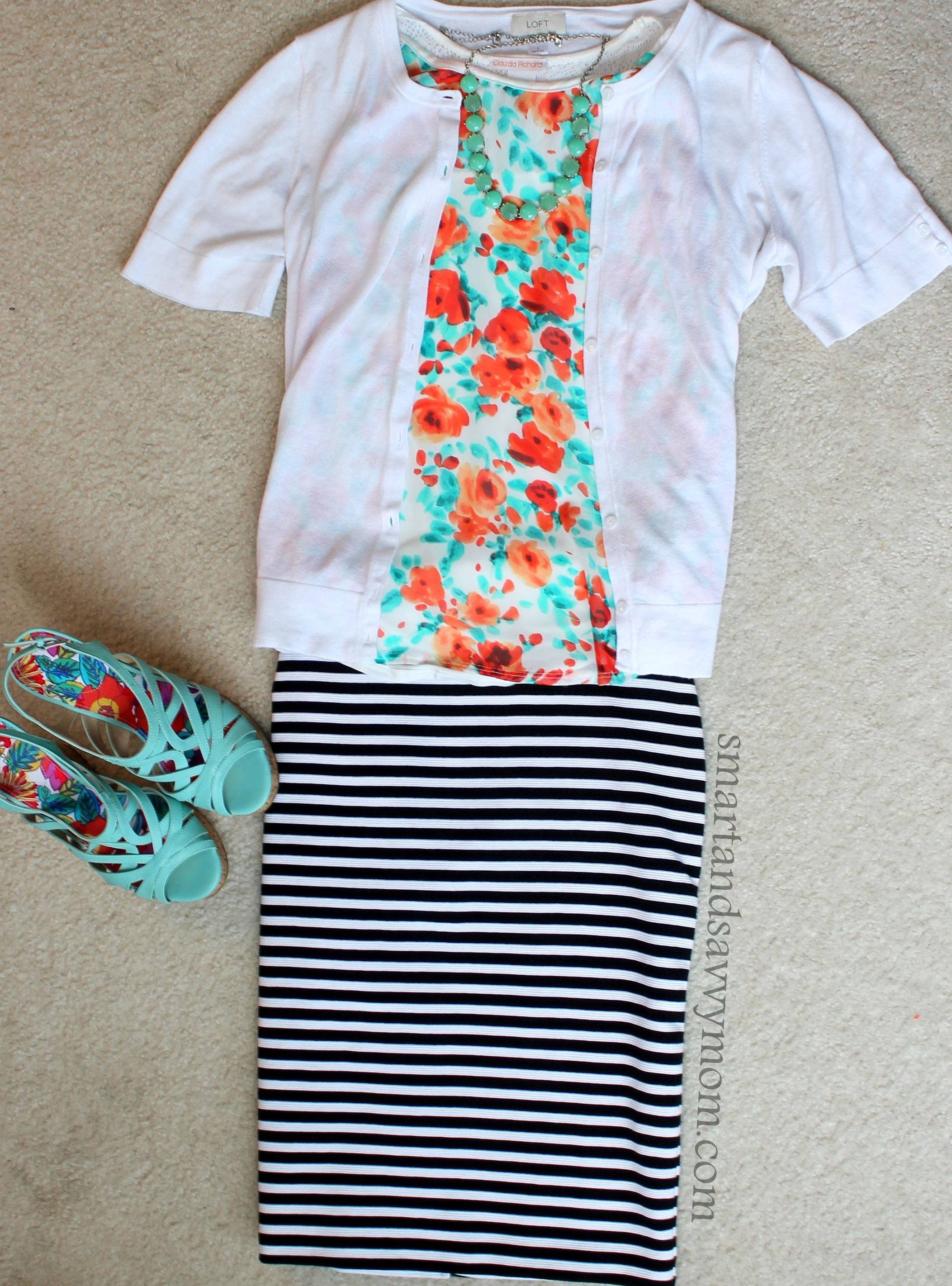 mint and coral floral print top with black and white striped skirt from Target and mint wedges easy modest outfit idea