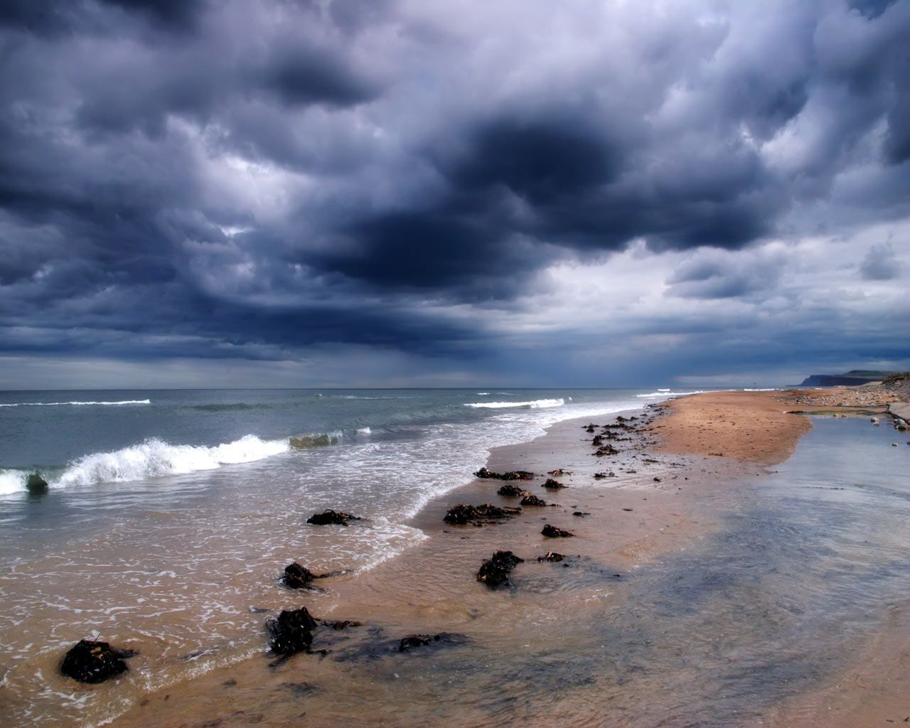 Stormy Beach Wallpaper: Stormy Weather Over Redcar Beach In Cleveland