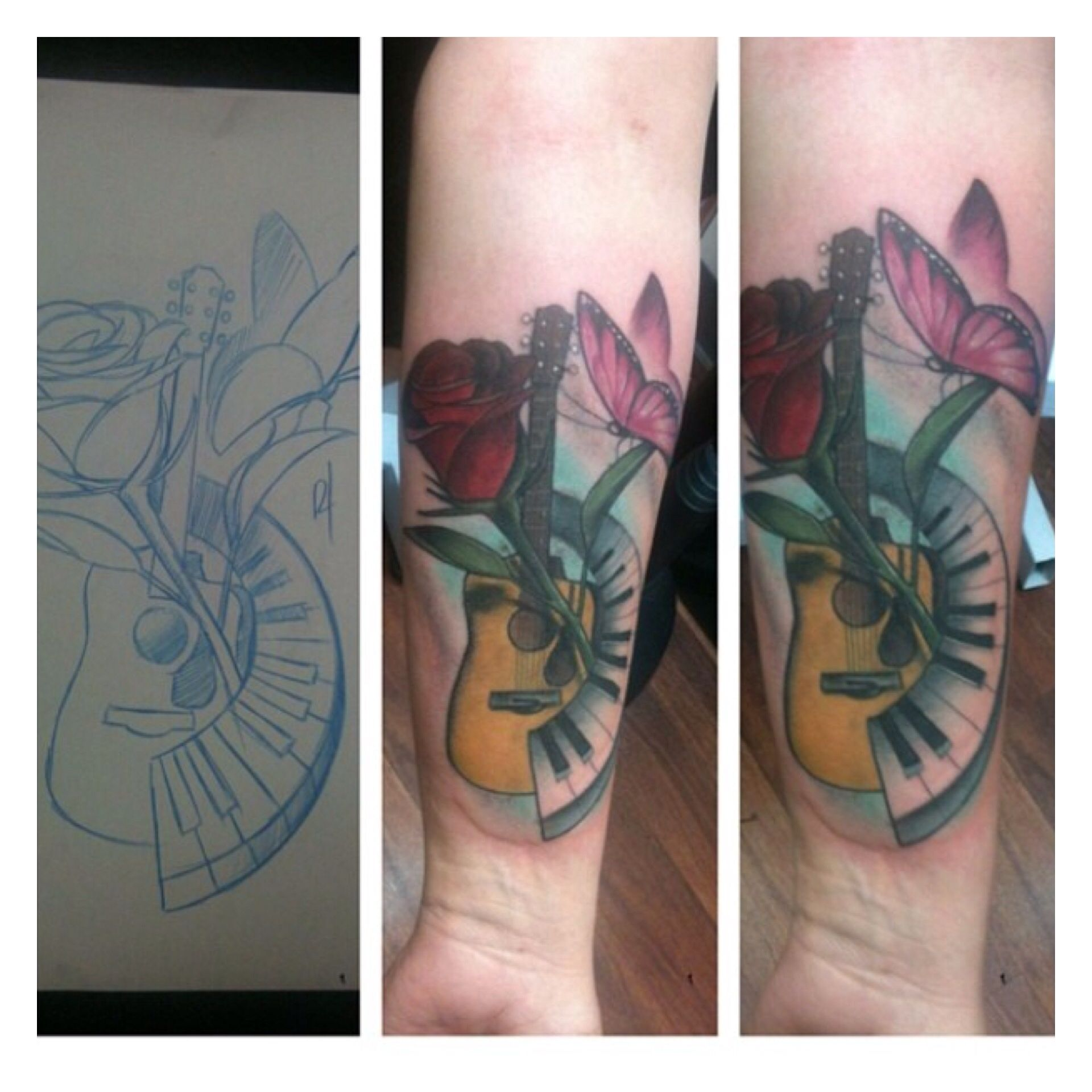 The o jays butterfly tattoos and clothes on pinterest - Awesome Colorful Tattoo From The Sketchbook Of Bobby Trefz Guitar Piano Rose