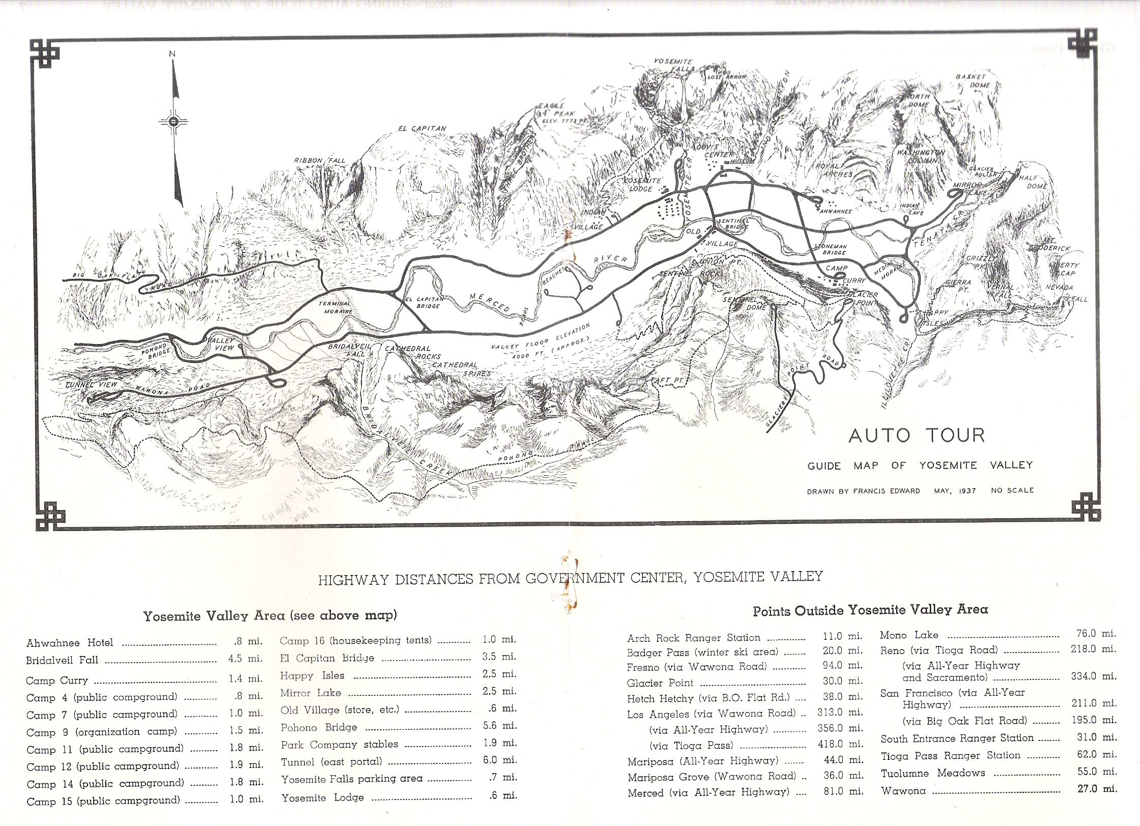yosemite valley map 1937 // hand drawn map research
