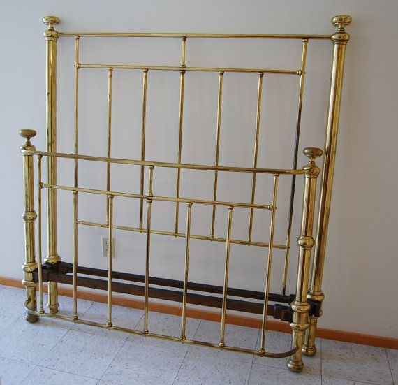 Vintage Brass Full Double Size Wrought Iron Metal Bed Frame Large Solid Headboard Footboard Rails Tete De Lit Metal Fer Forge Lit Metal