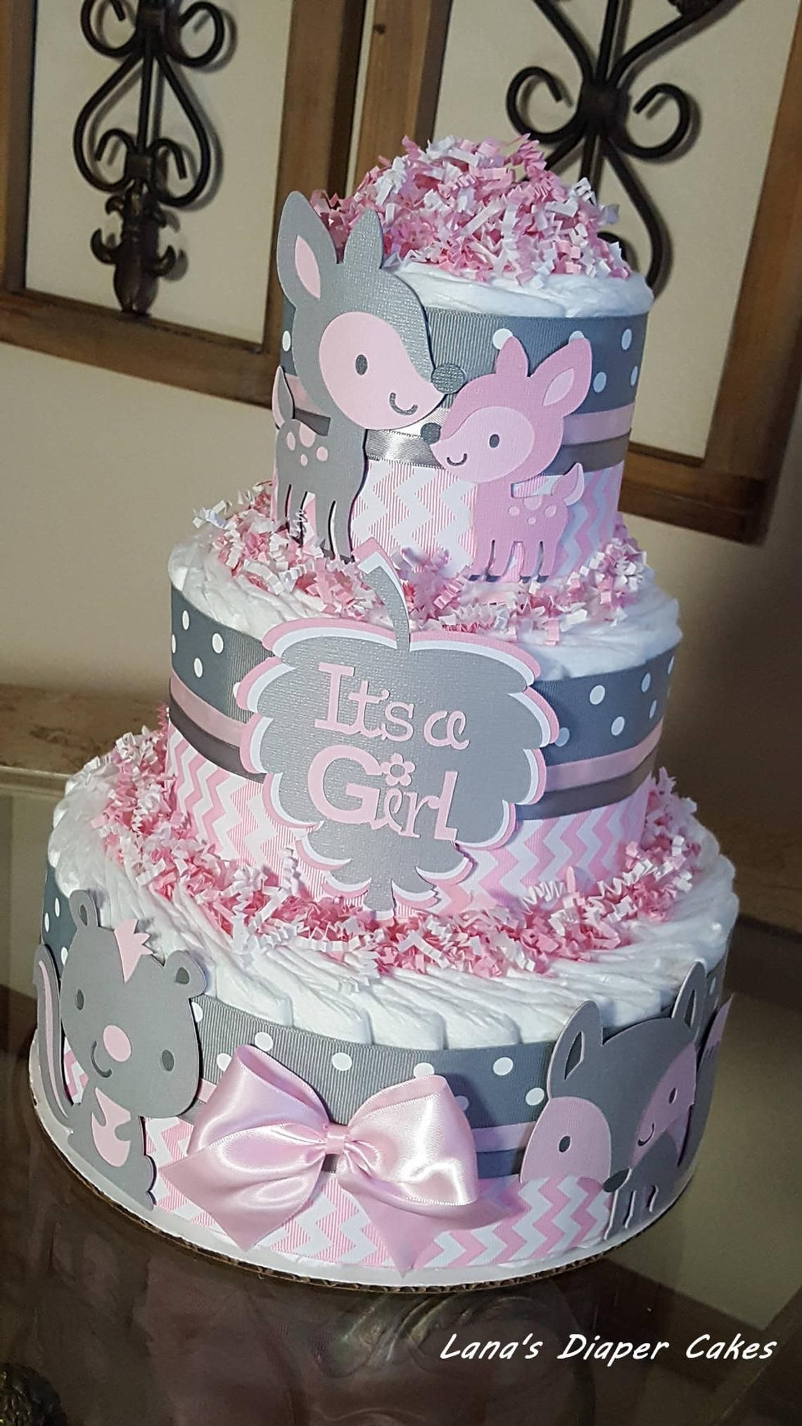 3 Tier Woodland Baby Animals Pink And Gray Chevron Diaper Cake